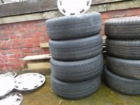 4 steel wheels and tyres for vauxhall vectra