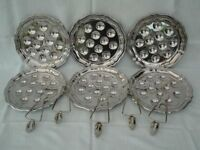 VINTAGE FRENCH ESCARGOT (SNAIL) PLATES WITH TONGS. SET OF SIX MARKED INOX 18%
