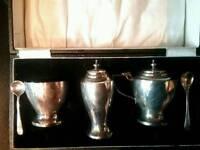 Antique Stirling silver condiment set