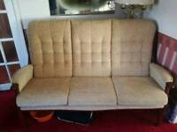 SCS 3 Seater sofa & 2x arm chairs