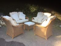 CONSERVATORY FURNITURE - 9 PIECES - CUSHIONS REQUIRE TO BE RECOVERED