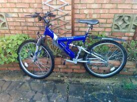Full suspension mountain bike, Apollo Excel 18 inch frame, unisex