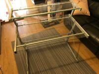 Aluminium/glass work desk with shelf