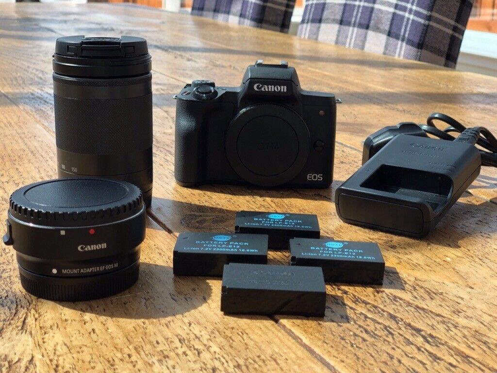Canon M50 with 18-150mm lens  £580  Mint condition  4 batteries and Canon  EF-M lens adapter | in Stirling | Gumtree
