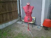 Retro red dressmakers dummy nice free sewing box