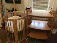 Stokke crib/cot and changing unit/ desk