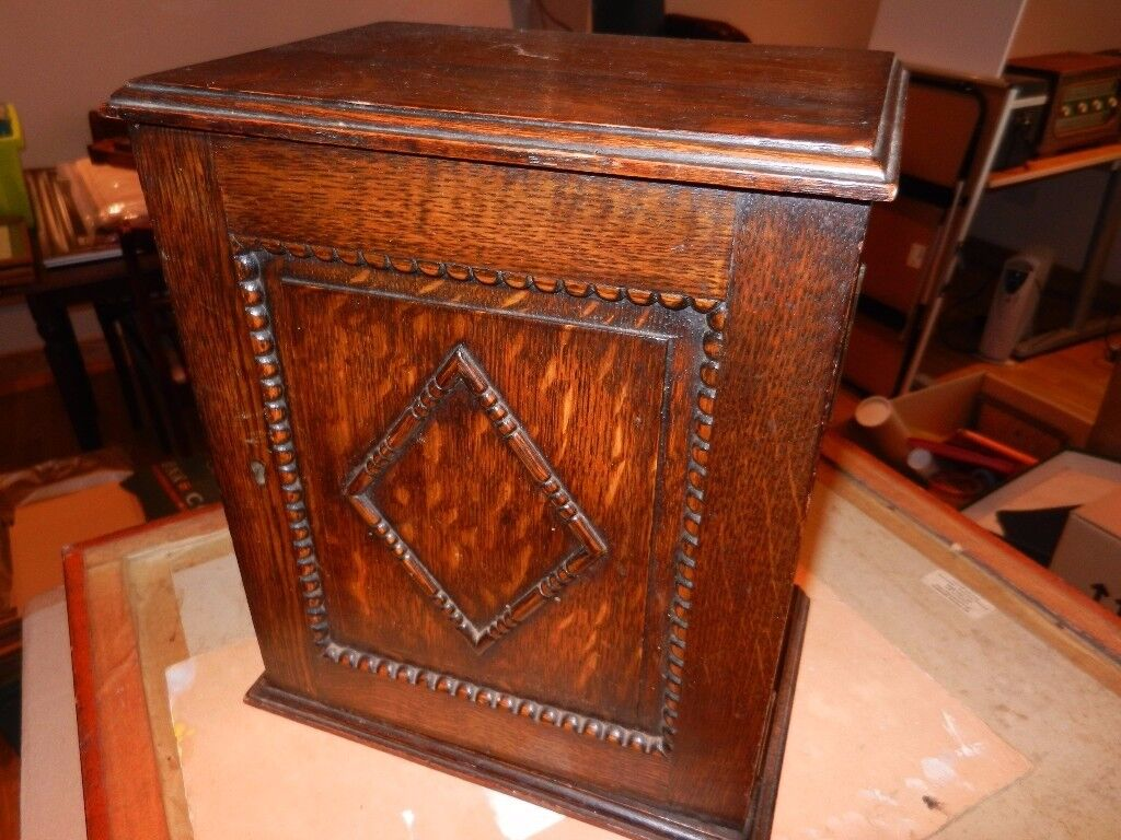 VINTAGE SMOKERS BEADED WOODEN PIPE CABINET WITH DRAWER .