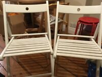 2x folding wooden chairs