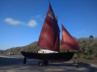 Cornish Coble by Cornish Crabbers. 16ft sailing boat. Includes Trailer and outboard
