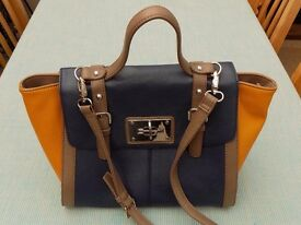 Jane Shilton Handbag, Blue & Mustard with Mink Trim.
