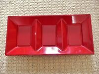 3 Compartment Plastic Tray / Platter for Party Snacks / Sandwiches / Appetizers / Food etc