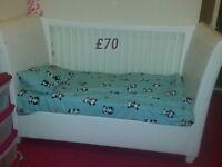 White Symphony kub cot bed only one bar/rail