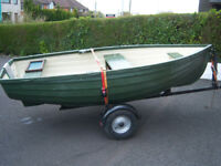 10ft fibreglass boat and trailer.