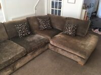 Corner sofa with snuggler & footstool - excellent condition
