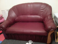 Red/Purple Little 2 Seater Leather Sofa Couch - DELIVERY AVAILABLE