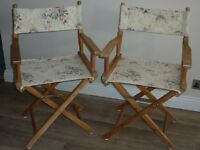 Wooden Directors Chairs x 2 - suit conservatory etc