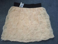 Primark Cream Rose Design Short Skirt New With Tags Size 12
