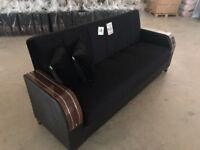 Brand New Turkish Velvet 3 Seater Fabric Sofa Bed, Wooden Leatherette Effect Sofabed Settee Next day