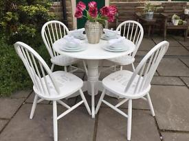 Round Dining Table & 4 Chairs ~ White French Shabby Chic Vintage