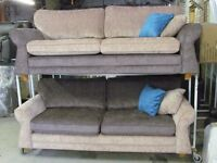 Brand New Dark and Light Brown fabric Sofa Settee 2 x 3 seaters couch set