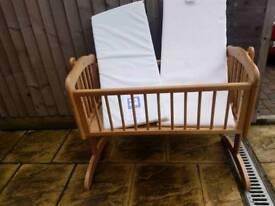 Mothercare rocking crib with brand new mattress