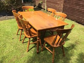 Solid Oak Table With Matching Chairs