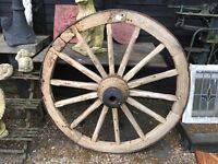 Very large Victorian cart wheel ...108 cms across