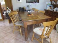 Pine Kitchen Table 7'x3' & 8 chairs