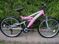 LADIES TRAX TFS1 DUAL SUSPENSION MOUNTAIN BIKE IN NEW CONDITION