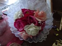 lovely pinks and cream silk lace bridal bouquet