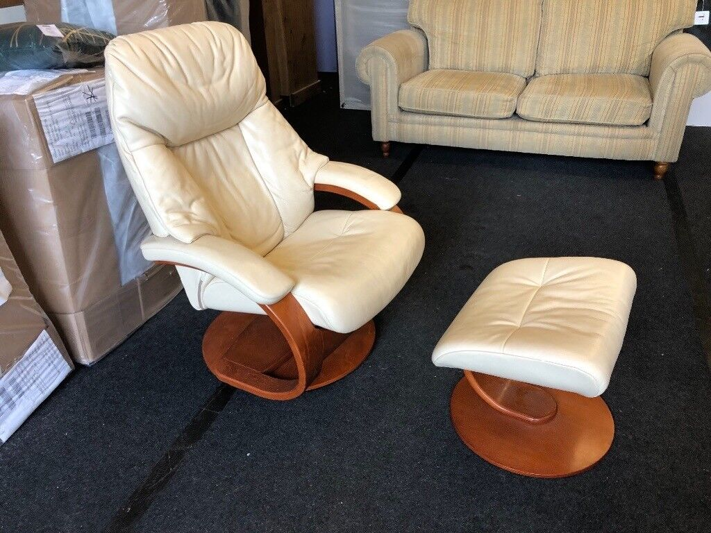 Outstanding Furniture Village Real Leather Swivel Recliner Chair And Foot Stool In Plymouth Devon Gumtree Theyellowbook Wood Chair Design Ideas Theyellowbookinfo