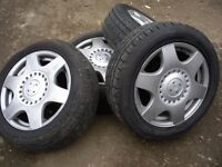 VW BEETLE, GOLF, TT, ETC. ALLOY WHEELS AND TYRES X 4, TYRES ARE AS NEW WITH CENTRE CAPS