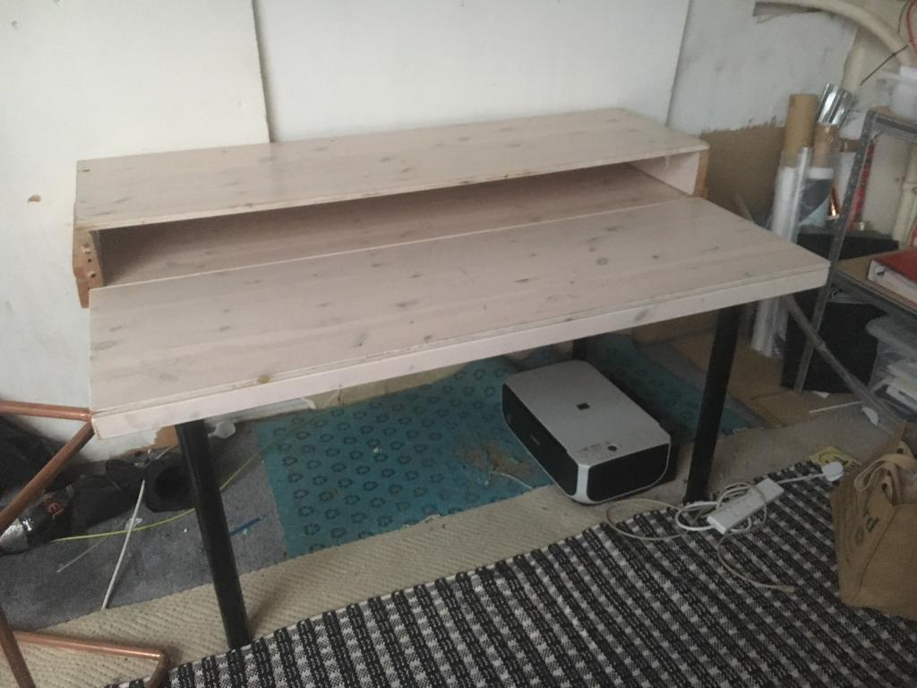 Home Made Desk With Built In Shelf, Large