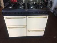 Black & cream belling 100cm dull fuel cooker grill & double fan assisted ovens with guarantee