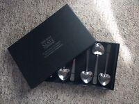 Set of 6 heart tea spoons