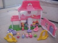 Fisher-Price Little People Happy Sounds Home with additional fairy/family figures