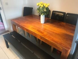 Dining Table, 4 Black leather chairs & black bench, great condition. Table measures 3ft & 6ft