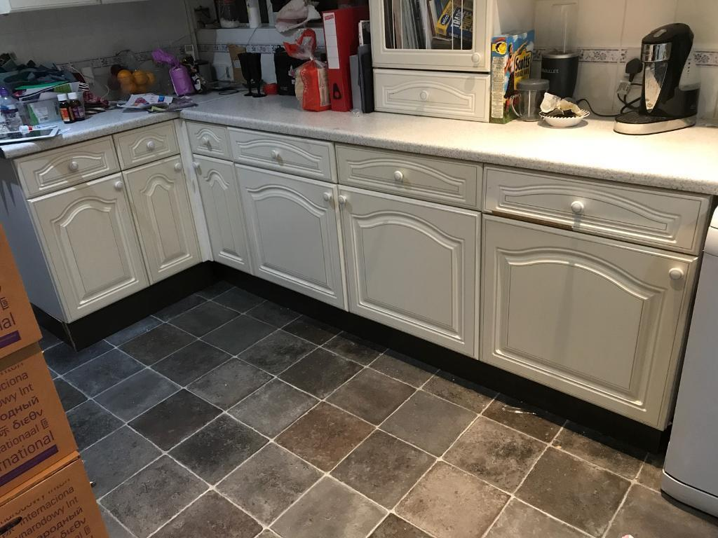 Full kitchen cupboards and carcass dishwasher oven