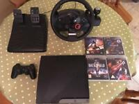 PS3 with GT steering wheel and games