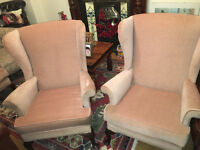 Gorgeous Vintage Pair of Parker Knoll Wing Back Queen Anne Fireside Armchairs
