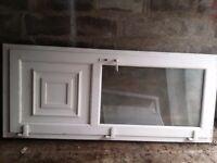 White Upvc frosted window door REHAU