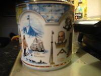 Porcelain barrel with metal lid