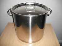 30litre and 12 litre stainless steel pans with lids