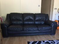 3 Seater Black Leather Sofa with Matching Arm Chair