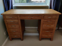Solid Oak Desk with Drawers, John Lewis