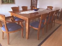 Large Dining Table, 6 chairs & 2 carvers: high quality teak, bought in 'Colonial' Woodlands Rd