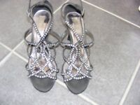 Black Satin Shoes With Diamante Detail Size 3 Only Worn Twice.
