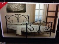 4FT BLACK METAL BED FRAME WITH CRYST AL FINIALS - - NEVER BEEN ASSEMBLED FT