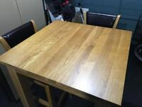 Tall solid oak breakfast bar table and chairs