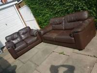 3+2 seater brown leather sofa free local delivery in leicester